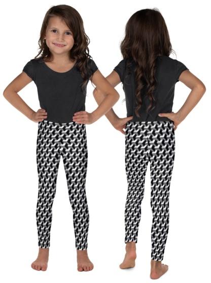black and white Isometric Striped 3D Leggings children kids