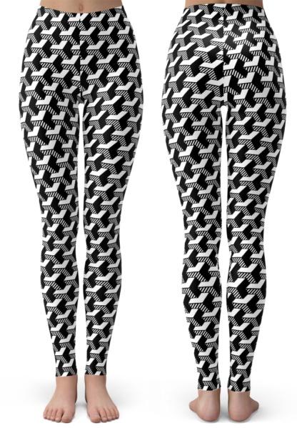 black and white Isometric Striped 3D Leggings children kids youth juniors