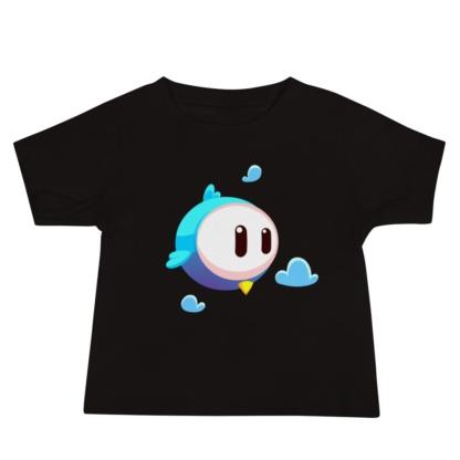 Big Face Bird Black t-shirt for babies infant