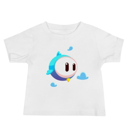 Big Face Bird White t-shirt for babies infant