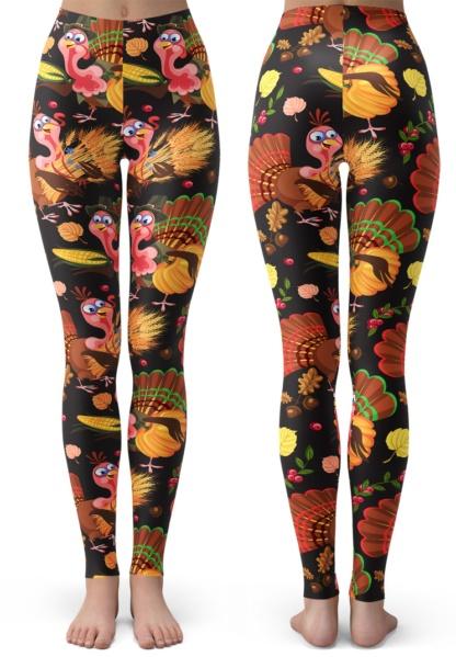 Holiday Thanksgiving Youth SizeLeggings for Kids / Turkey & Corn Patterns