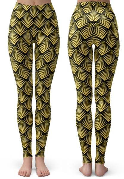 Art Deco Gold Leggings for Kids