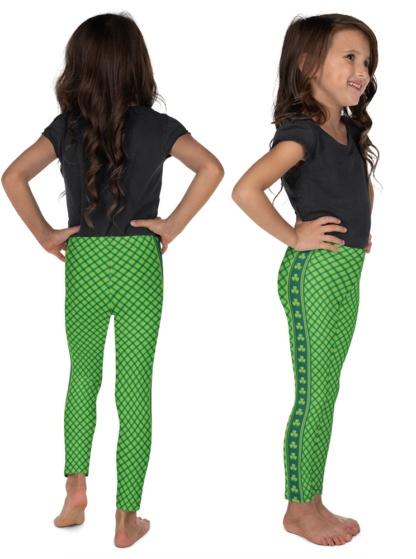 Green Plaid St Patrick's Day Leggings for Kids Shamrock stripe