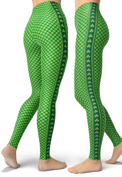 Green Plaid St Patrick's Day Leggings for juniors youth size Shamrock stripe