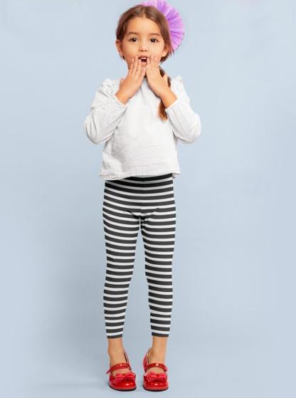 Horizontal Stripes Leggings for Kids Black and white