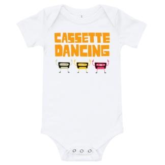 infant / babies cassette tape dancing onesie white