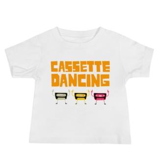 infant / babies cassette tape dancing t-shirt white