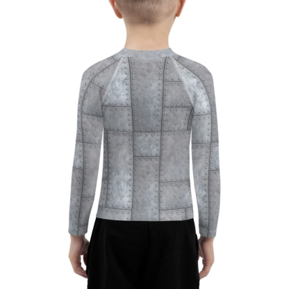 Metal Grill Metallic Rivets Kid's rash guard exercise protective top for children