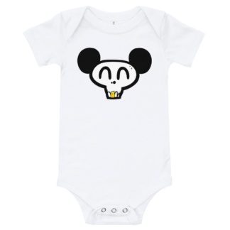 Skull face mickey mouse white onsie for babies infants