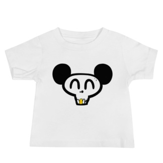 Skull face mickey mouse white t-shirt for babies infants