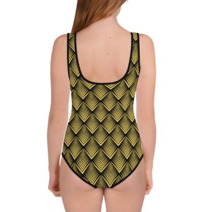 Art Deco Gold Bathing Suit / One Piece Swimsuit