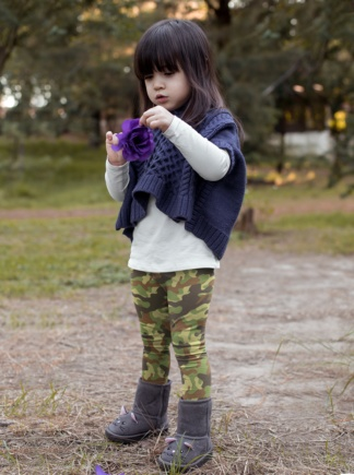blue green camo Camouflage Leggings for Kids