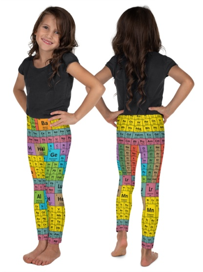 Periodic Table of Elements Chemicals Science Leggings for Kids