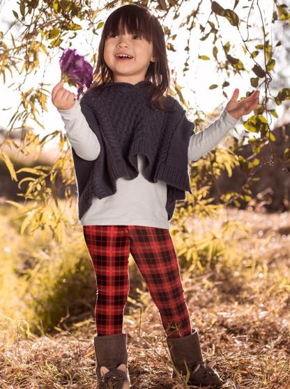 red white yellow Scottish tartan Plaid Leggings for Kids