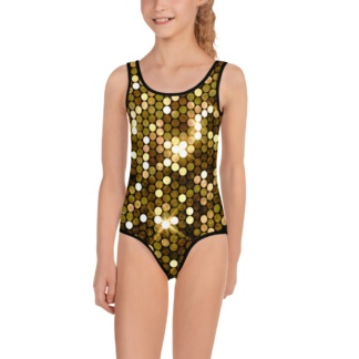 Shiny Gold Bathing Suit for Kids / One Piece bling