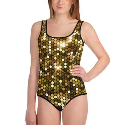 Shiny Gold Bathing Suit / One Piece / Youth Bling Swimsuit