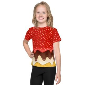 Sponge Cake Strawberry & Chocolate Icing Costume T-shirt for Kids / Short Sleeve