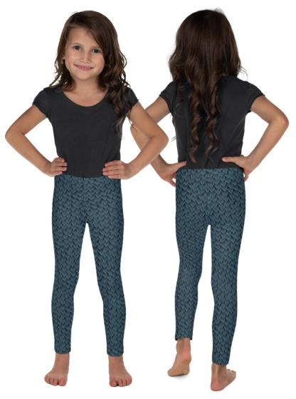 Blue Green Dragon Scale Leggings for Kids