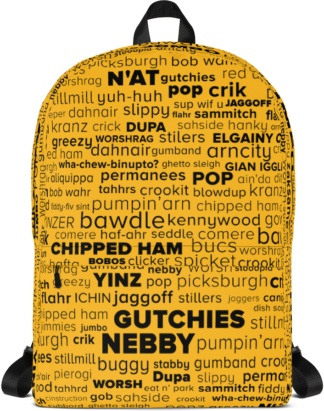 Gold Black Pink Pittsburgh Word Cloud Backpack Pittsburghese with Laptop Sleeve