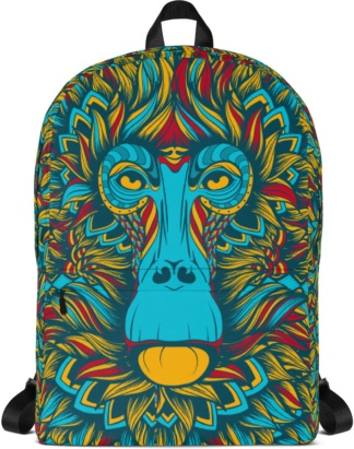 Back to school book bags rug-sack Baboon Blue Monkey Backpack with Laptop Sleeve