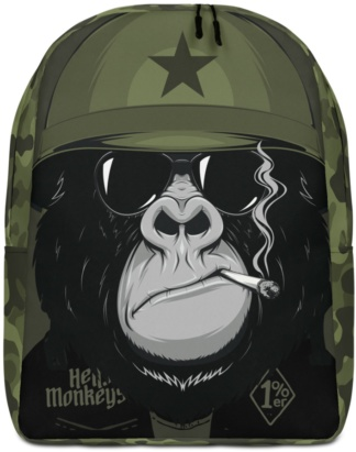 Back to school book bags rug-sack Military Biker Great Ape Gorilla Backpack with Laptop Sleeve