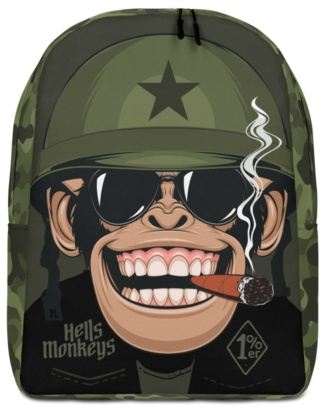 Military Biker Monkey Backpack with Laptop Sleeve
