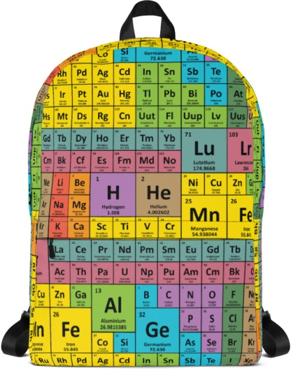 Periodic Table of Elements Backpack with Laptop Sleeve School Rugsack back to Book bag Science