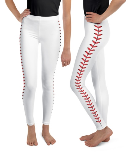 Baseball Leggings For Kids Children Baseball stitches leather young adult teenage youth size