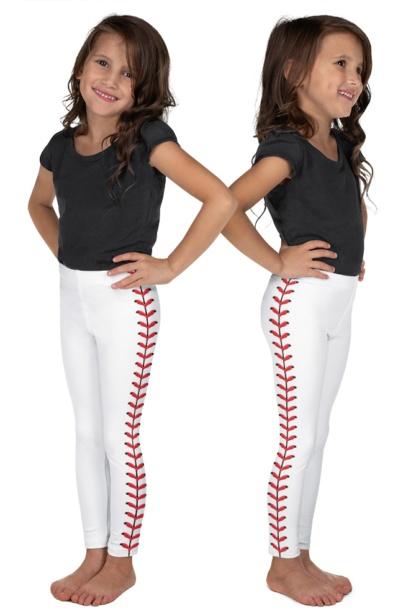 Baseball Leggings For Kids Children Baseball stitches leather
