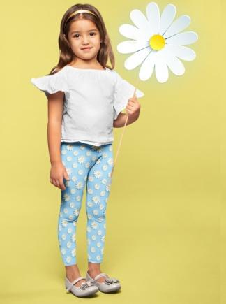 Blue Daisy Leggings for Kids