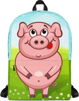 Pinky Pig Backpack with Laptop Sleeve
