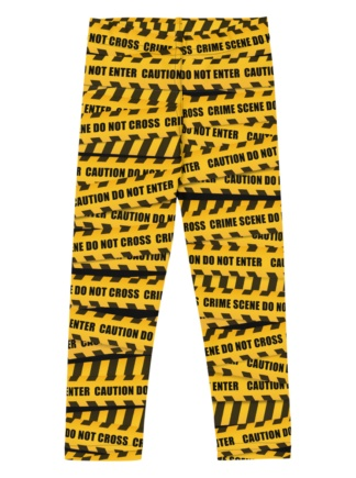 Crime scene keep out warning yellow childrensCaution Tape Leggings for Kids